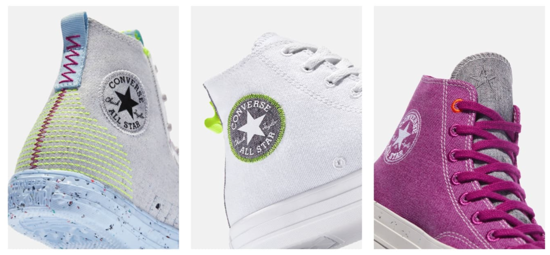 1. Chuck Taylor All Star Crater montante : 100 € 2. Chuck Taylor All Star Renew montante: 75 € 3. Chuck Taylor All Star Renew montante: 75 €