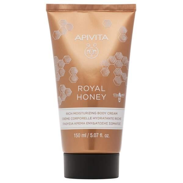 Crème corps Royal Honey, Apivita, 16,40€.
