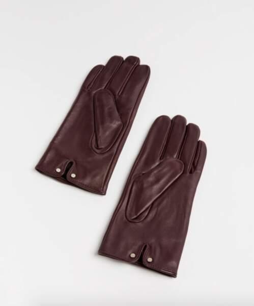 Gants en cuir détail nœud 90€, Francca