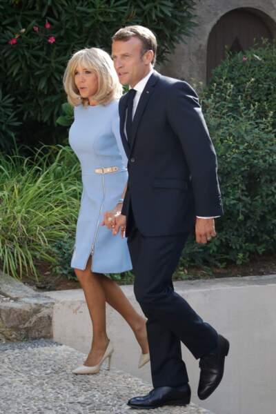 Emmanuel et Brigitte Macron, dans le jardin du fort de Brégançon, le 19 août 2019.