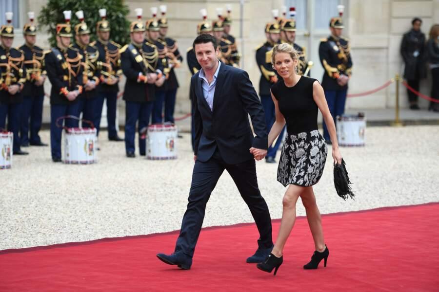 Tiphaine Auzière, fille de Brigitte et belle-fille d'Emmanuel Macron, ici au bras de son mari Antoine, le 14 mai 2017.