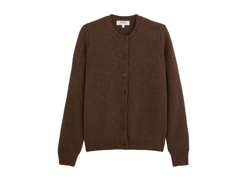 Cardigan Fergoza marron en laine mérinos, 160€, Balzac Paris