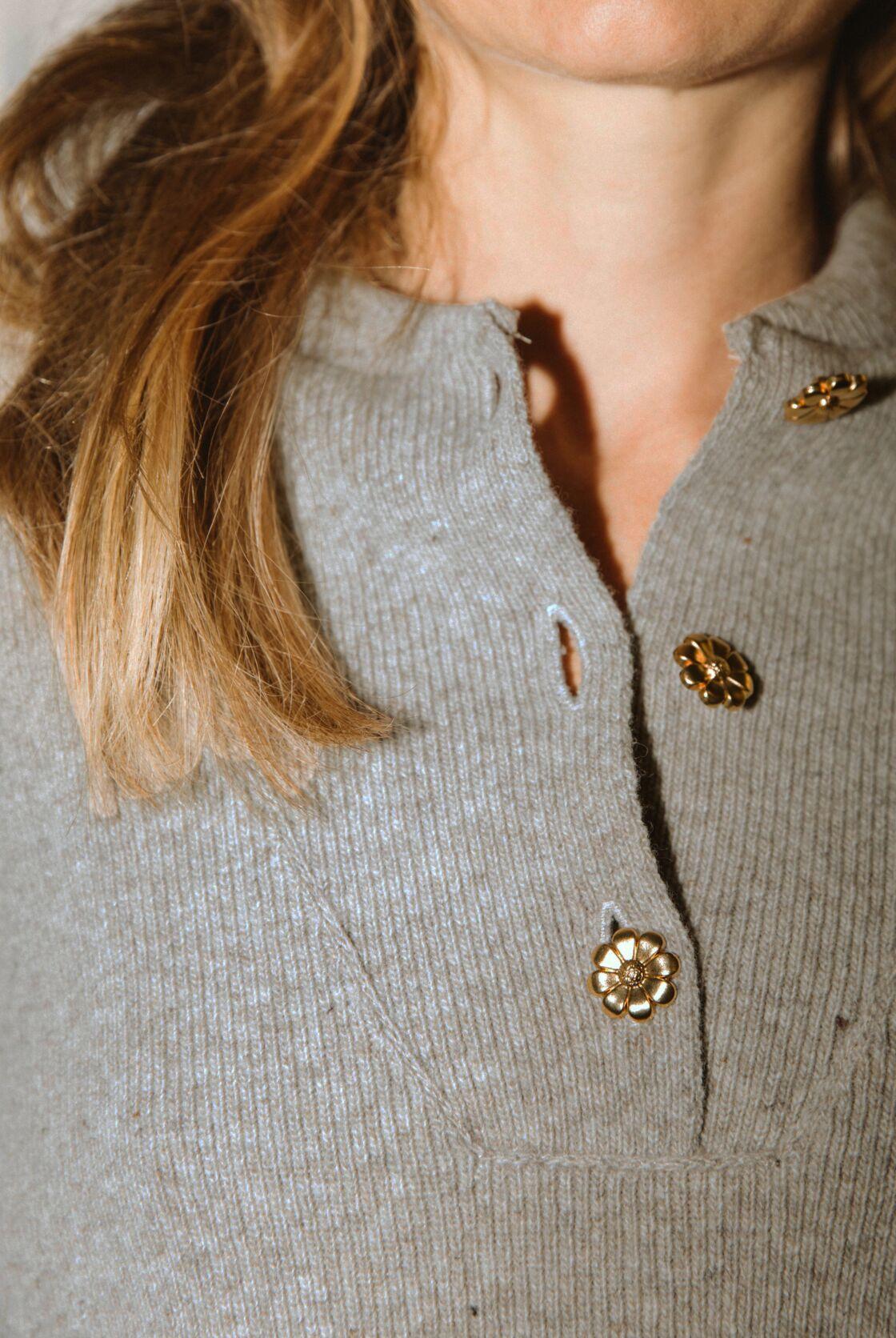 Pull Ivanie chaume en laine mérinos vendu à 160€ sur Balzac Paris
