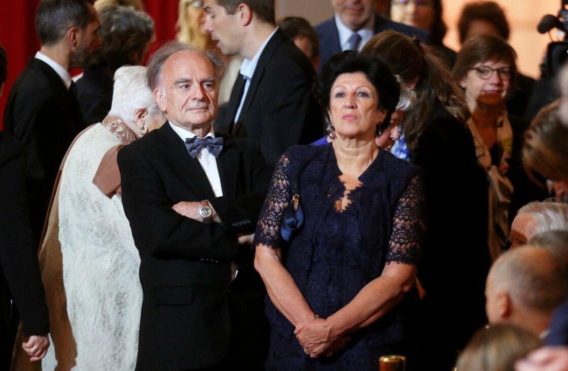 Jean-Michel Macron et Françoise Noguès, le 14 mai 2017, le jour où leur fils, Emmanuel Macron reçoit le collier du Grand maître de la Légion d'honneur.