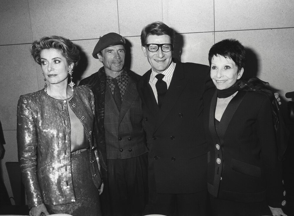 Catherine Deneuve, Rudolf Noureev, Yves Saint Laurent et Zizi Jeanmaire à l'Opéra Bastille en 1992