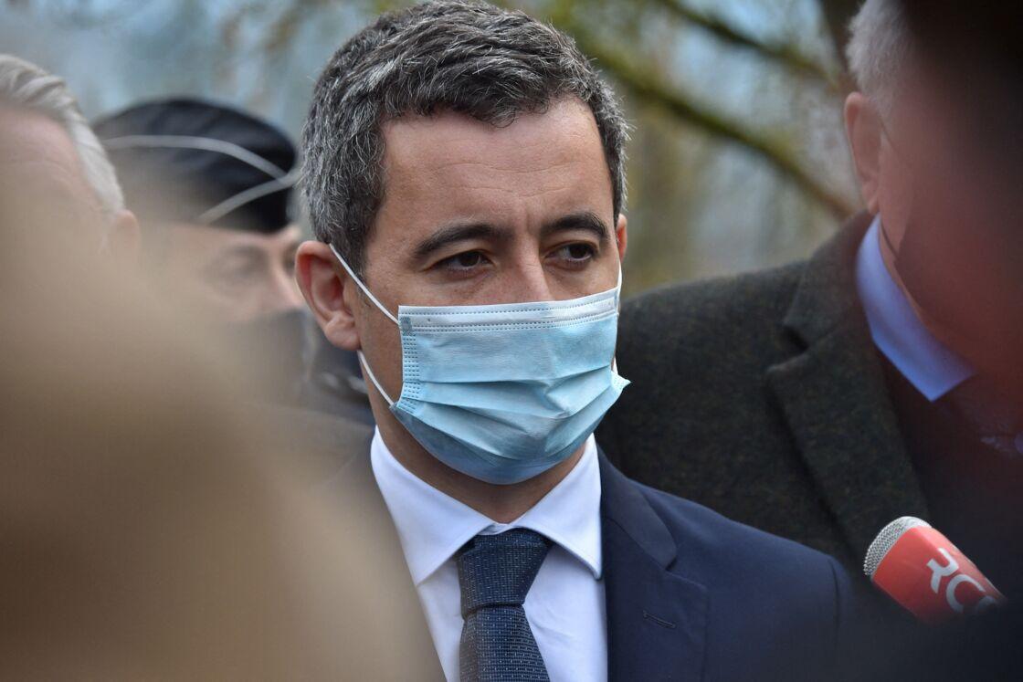 Gérald Darmanin, ministre de l'Intérieur - Le ministre de l'Intérieur se rend à la Compagnie de gendarmerie d'Ambert après le meurtre de trois gendarmes par un forcené le 23 décembre 2020.
