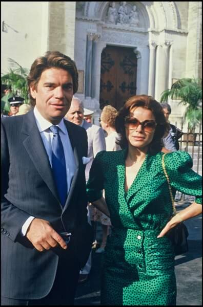 Bernard Tapie et son épouse, Dominique, au mariage d'Yves Mourousi, en 1985.