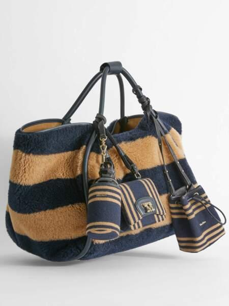 Grand sac cabas fourre-tout en alpaga, laine et soie effet fourrure à rayures bicolores, 915€, Max Mara