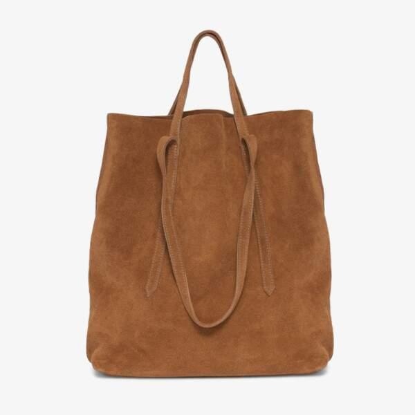 Maxi sac Cheyenne en suédine cognac aux deux anses de taille différente, 120€, Bocage