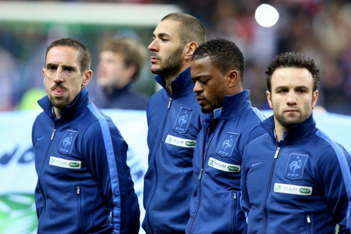 Franck Ribery, Karim Benzema, Patrice Evra et Mathieu Valbuena - L'equipe de France de football s'est qualifiee pour la prochaine Coupe du Monde au Bresil en battant l'Ukraine 3 a 0 au Stade de France en match de barrage a Saint-denis le 19 novembre 2013.