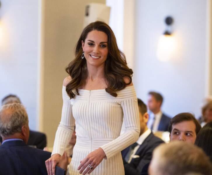"""Kate Middleton, lors du dîner de gala """"Action on Addiction"""" à Londres, le 12 juin 2019."""