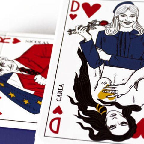 Carla, Nicolas Sarkozy et le gouvernement figures d'un jeu de cartes