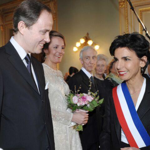 Rachida Dati en noir au mariage blanc des Orléans