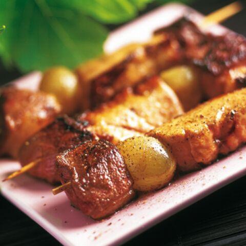 Brochettes de magret au raisin