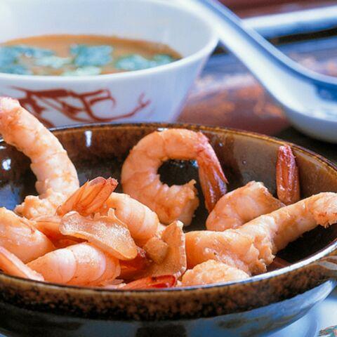 Crevettes en bouillon de poisson