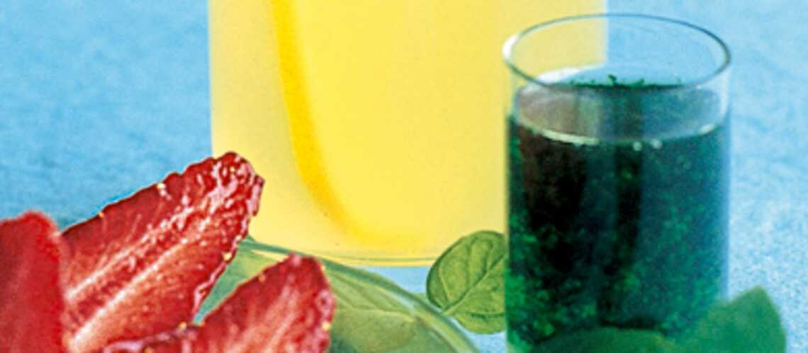 Fraises en gelée de citron et menthe