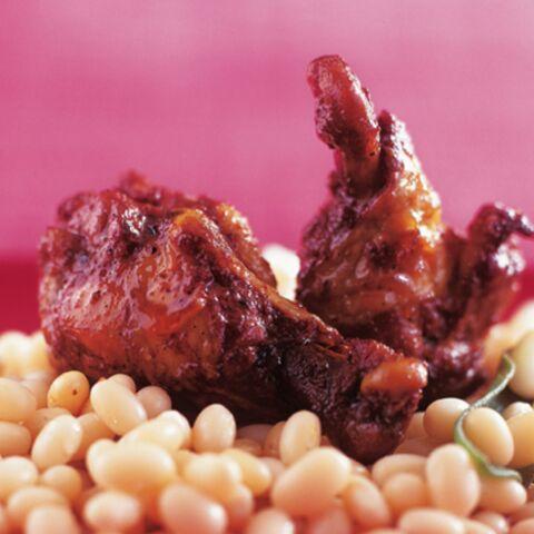 Haricots blancs, poulet caramélisé