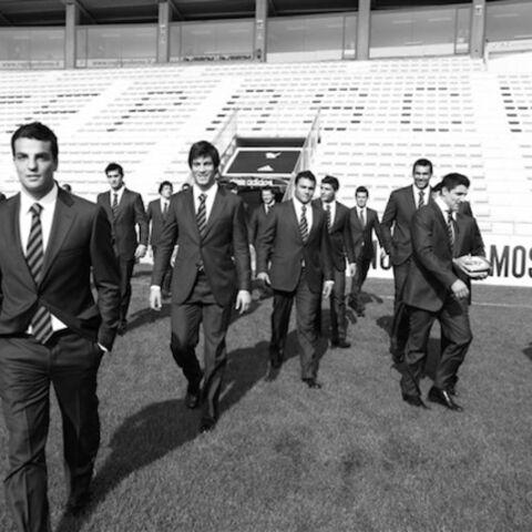Les rugbymen Aironi costumés par Moschino