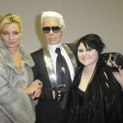 Kate Moss et Karl Lagerfeld écoutent Beth Ditto chez Fendi