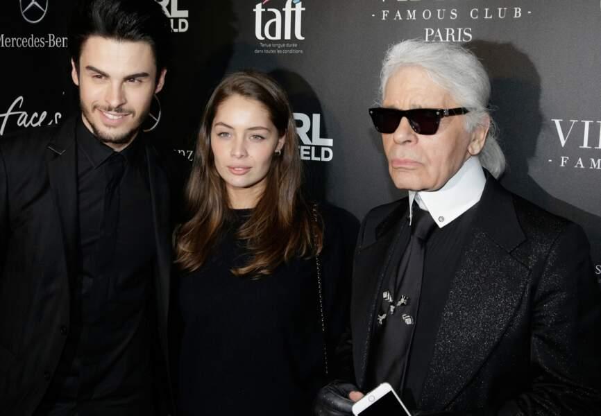 Marie-Ange Casta entourée de Baptiste Giabiconi et Karl Lagerfeld