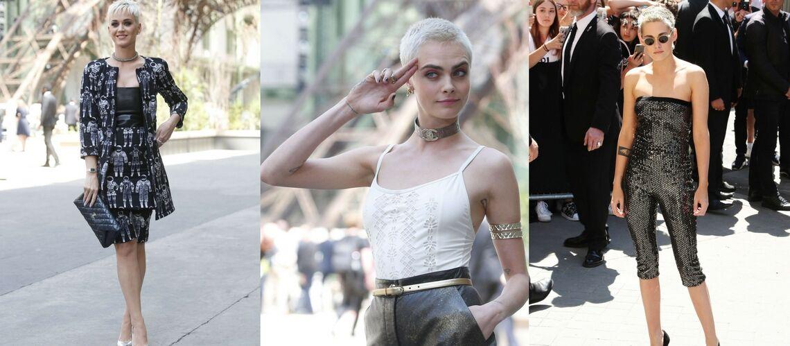 PHOTOS – Kristen Stewart, Cara Delevingne, Katy Perry … La tendance androgyne des cheveux courts et blancs au défilé Chanel