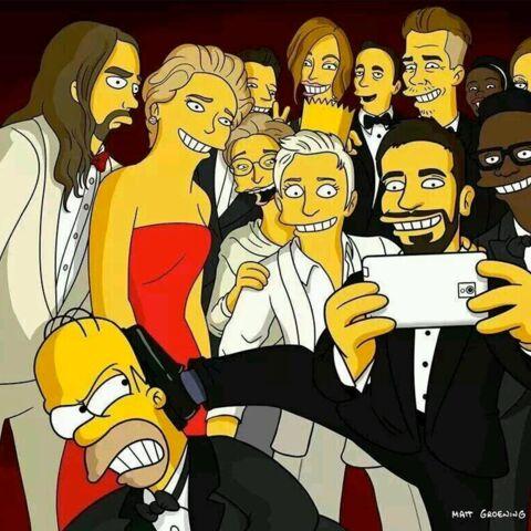 Les Simpson revisitent le célèbre selfie des Oscars