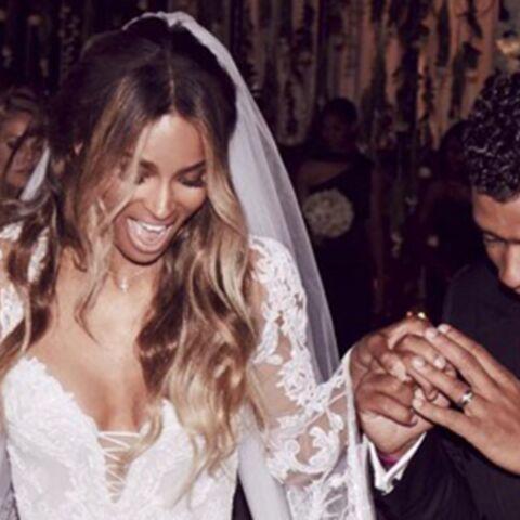 Ciara radieuse dans sa robe de mariée