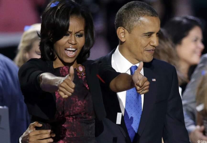 Barack avec Michelle le soir de la réelection, Chicago, le 6 novembre 2012