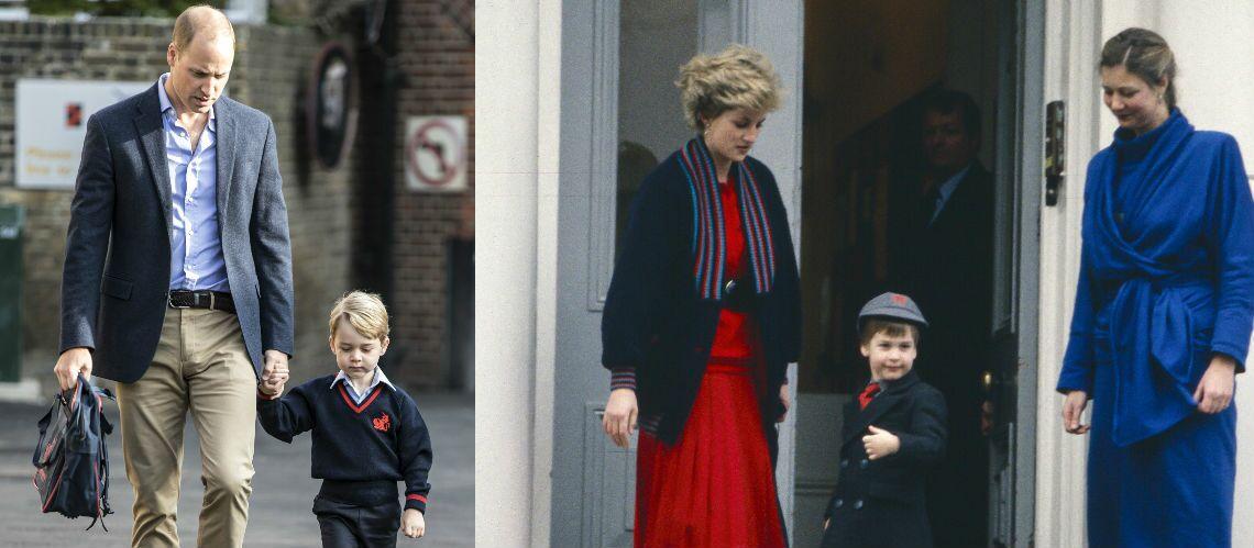 Rentrée des classes:  Le prince George, aussi chic que William à son époque mais bien moins souriant
