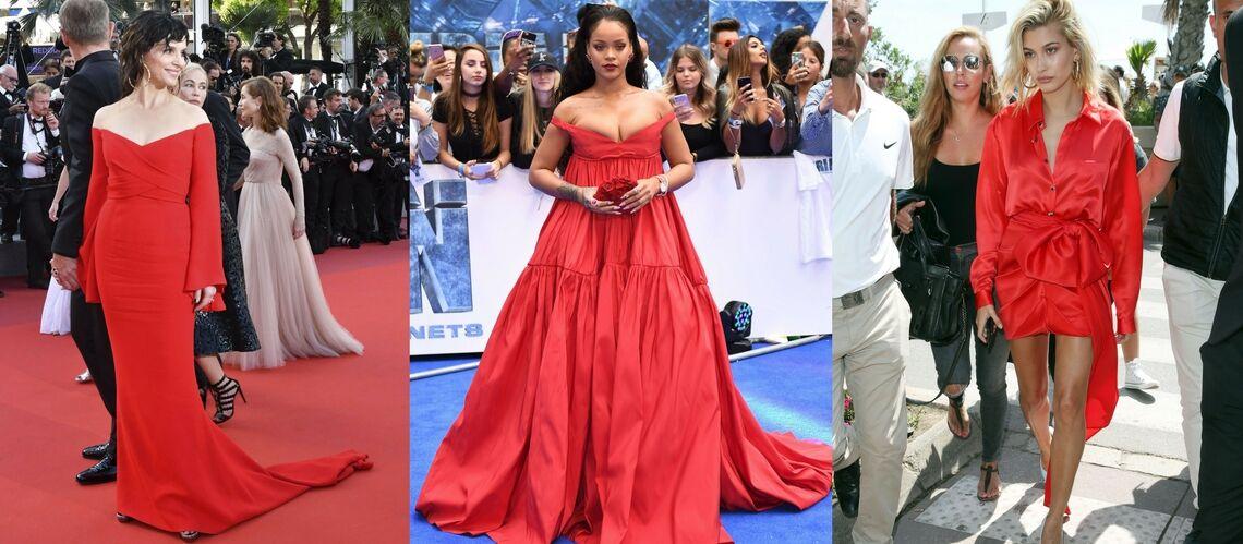 PHOTOS – Rihanna, Juliette Binoche, Hailey Baldwin, elles craquent toutes pour la robe rouge décolletée