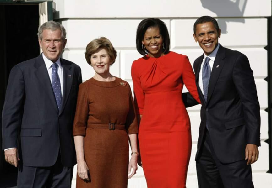 En novembre 2008 avec Laura et George Bush à la Maison Blanche