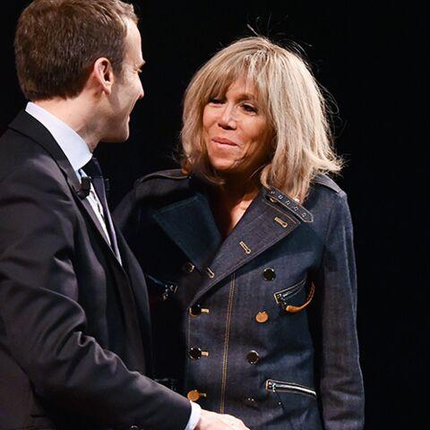 PHOTOS – Brigitte Macron: ultra lookée, en jean et cuir, pour sa première prise de parole en meeting