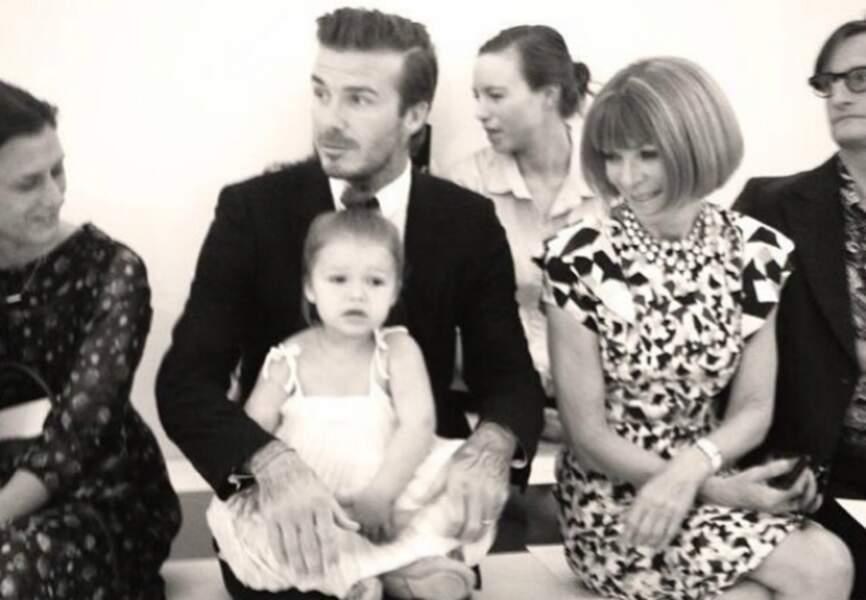 Harper et David Beckham avec Anna Wintour