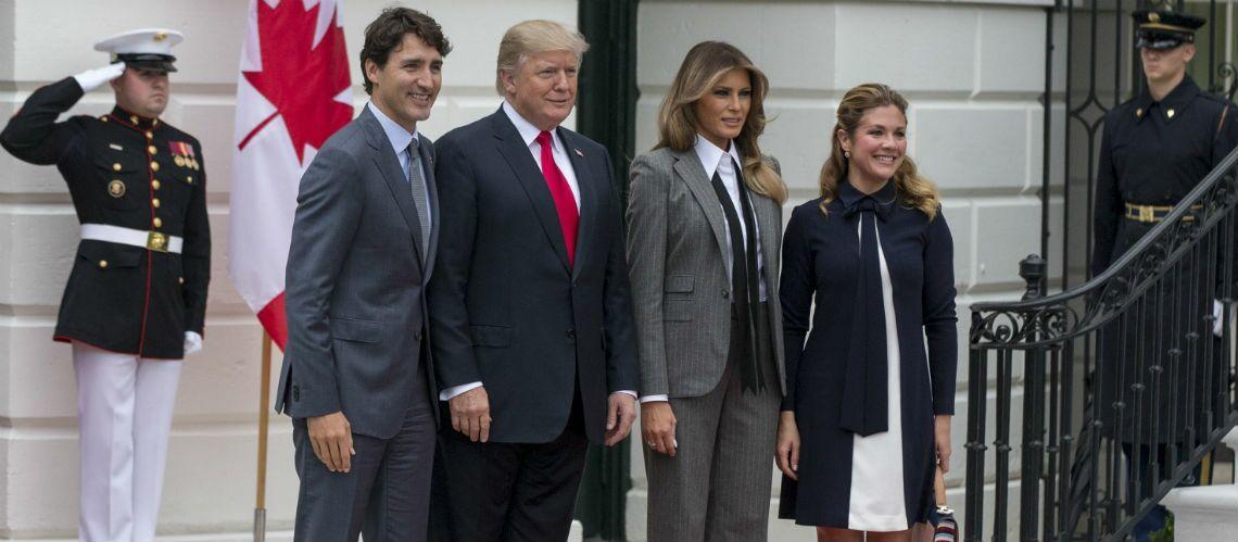 c7373470f3a7 Melania Trump   découvrez pourquoi elle a porté un costume d homme en  présence de Justin Trudeau   - Gala