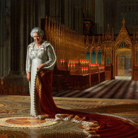 Un portrait de la reine Elizabeth défiguré