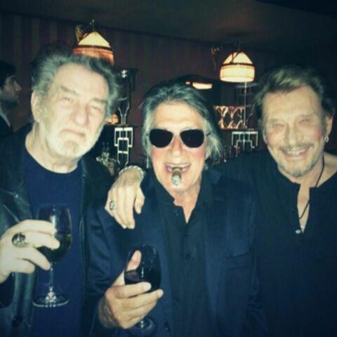 Jacques Dutronc, Johnny Hallyday et Eddy Mitchell ensemble sur scène