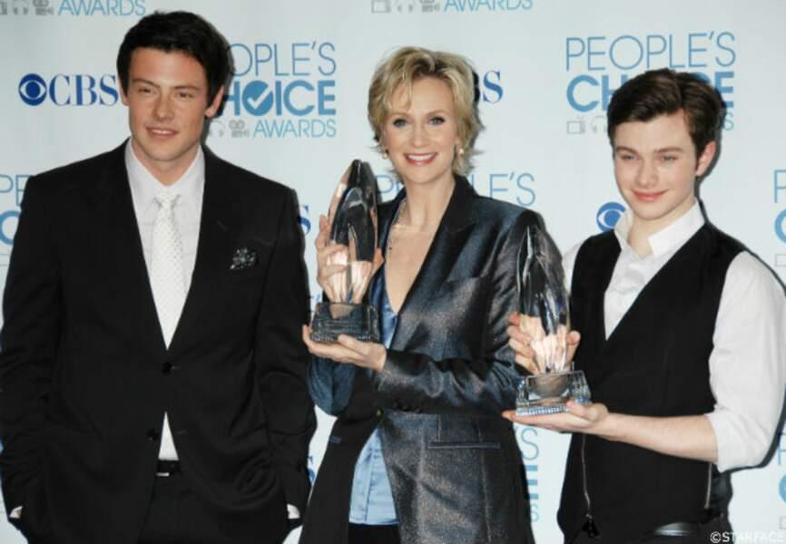 Cory Monteith prend la pose avec Jane Lynch et Chris Colfer, des acteurs de Glee