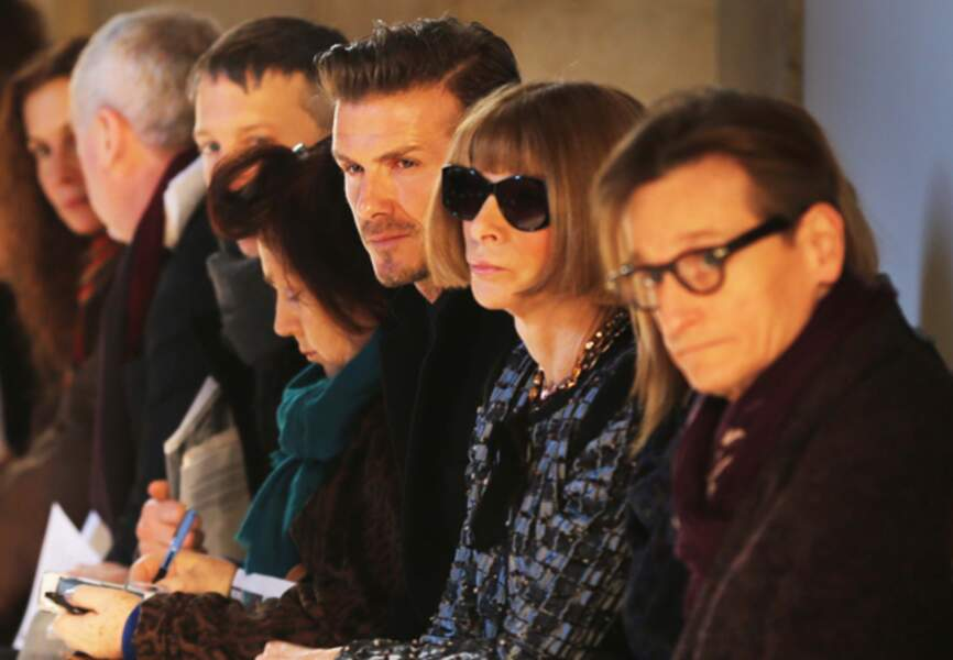 Anna Wintour aux côtés de David Beckham pour le show Victoria Beckham