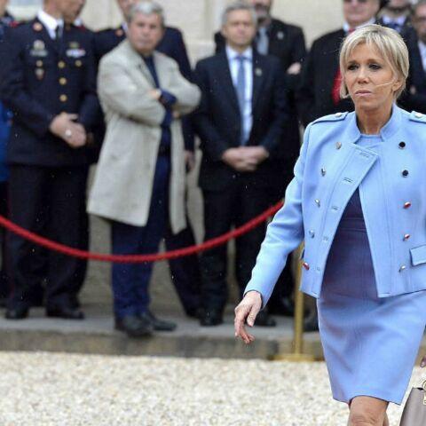 Brigitte Macron, la vérité sur sa robe bleue lavande griffée Louis Vuitton qui a tant fait parler
