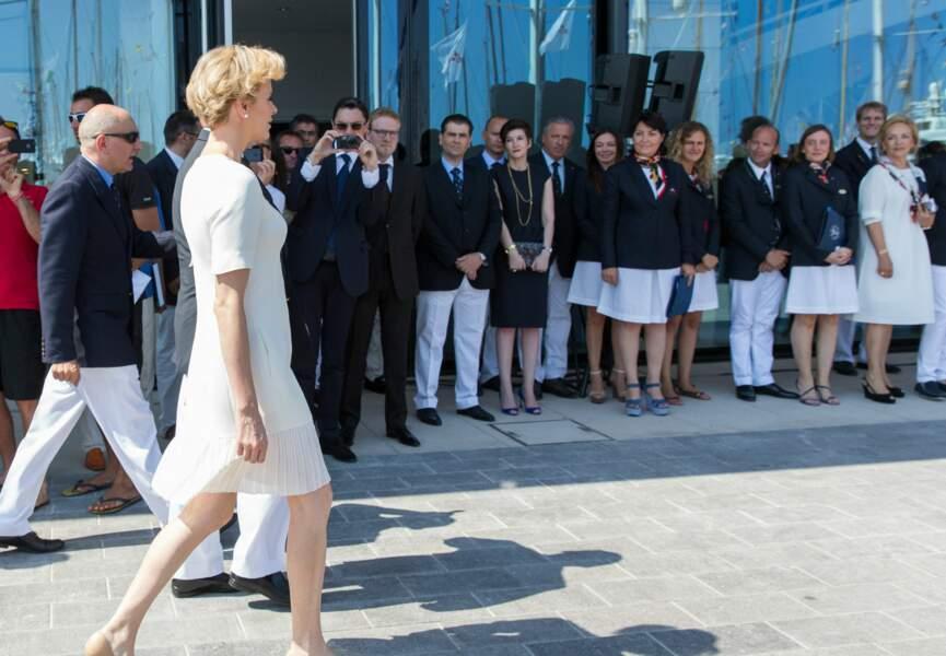 Charlène de Monaco à l'inauguration du Yacht Club de Monaco (c) Abaca