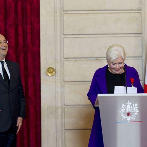 Photo- Line Renaud et François Hollande font l'humour à l'Elysée
