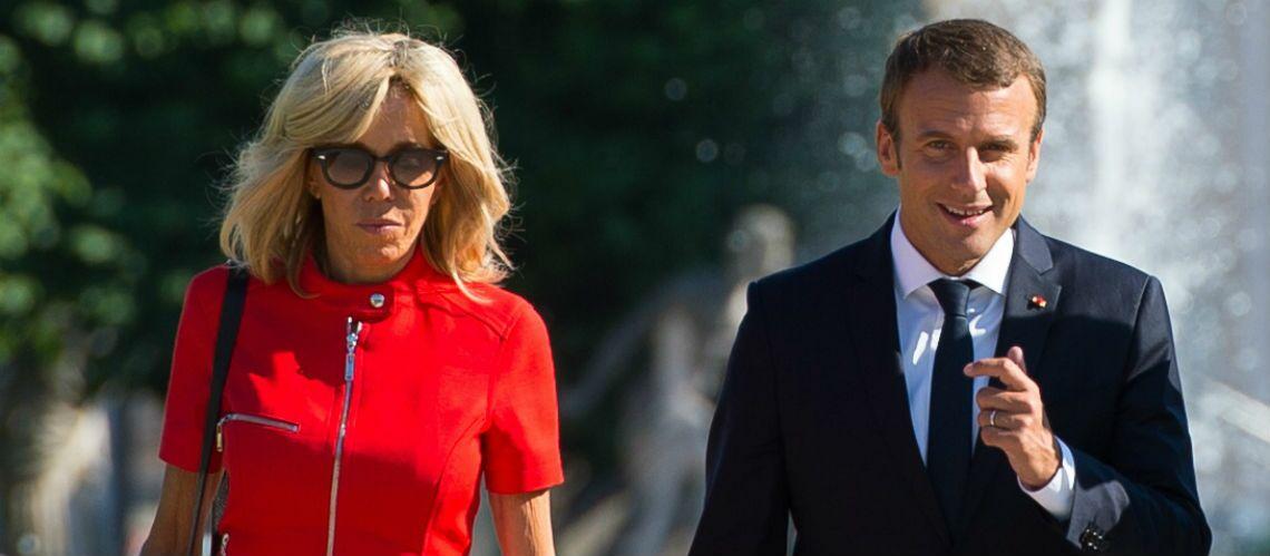 PHOTOS – Brigitte Macron amoureuse de sa robe rouge courte Louis Vuitton -  Gala fb9f0583bd2