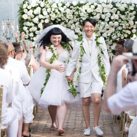 Beth Ditto se marie pieds nus mais en Jean Paul Gaultier