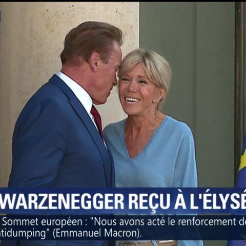 PHOTOS – Le bisou le bisou! Brigitte Macron et Arnold Schwarzenegger très complices à l'Elysée