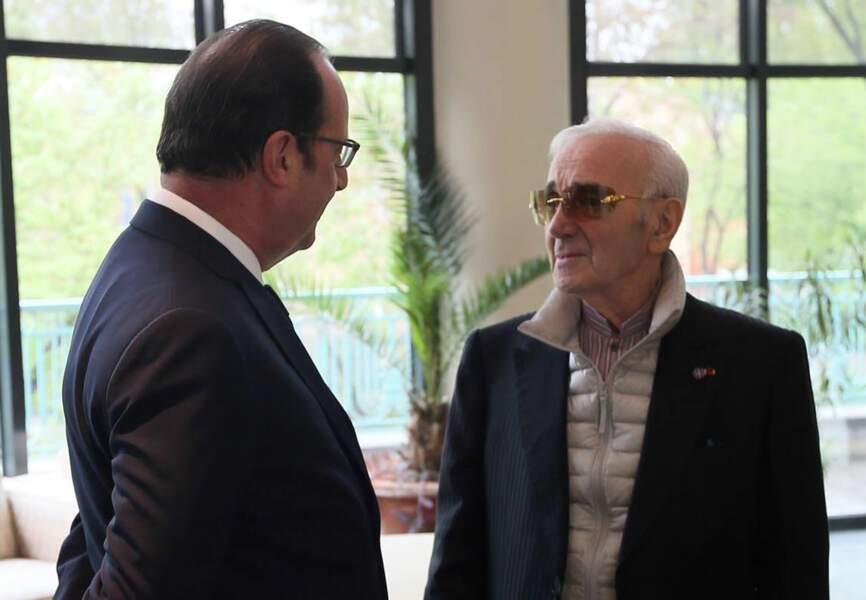 François Hollande et Charles Aznavour