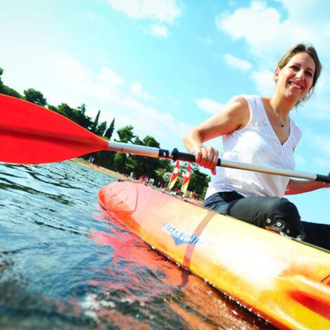 Photos- Maud Fontenoy se jette à l'eau pour les Oubliés des vacances