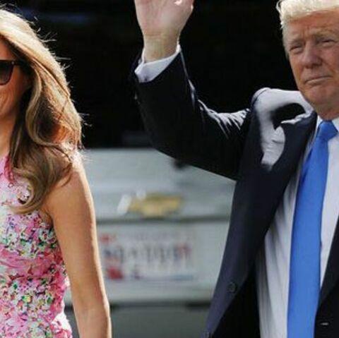 PHOTOS – Melania Trump: en petite robe rose sans manches pour sa première apparition depuis le 14-juillet