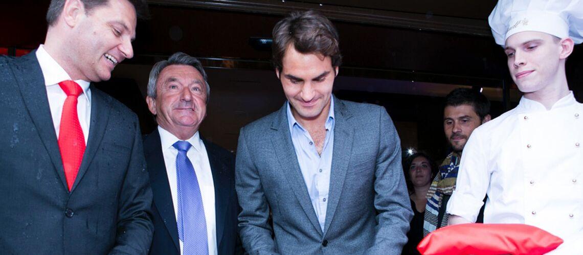 Roger Federer, Sylvie Tellier et Sofia Essaïdi à l'ouverture de la boutique Lindt