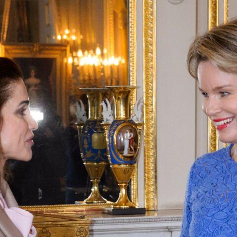 PHOTOS – Rania de Jordanie et Mathilde de Belgique, des souveraines chics et complices