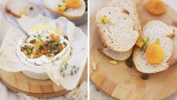 Camembert rôti aux abricots secs, pignons et pistaches